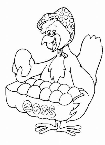 Coloring Chicken Pages Eggs Chickens Clipart Sheet