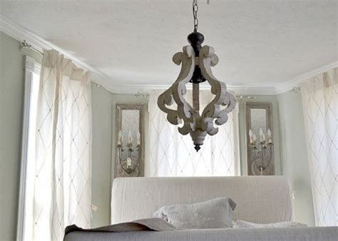 white wood cottage distressed chandelier pendant shabby