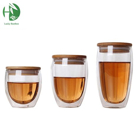 double glass cup coffee Mugs Tea Cup transparent heat resistant glass cups with bamboo