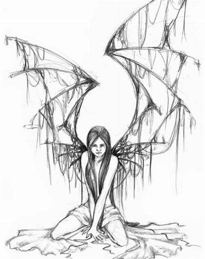 Fairy Gothic Drawing Tattoos Coloring Angel Fallen