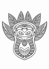 Coloring African Mask Pages Adult Printable Colouring Africa Masks Animal Adults Justcolor sketch template