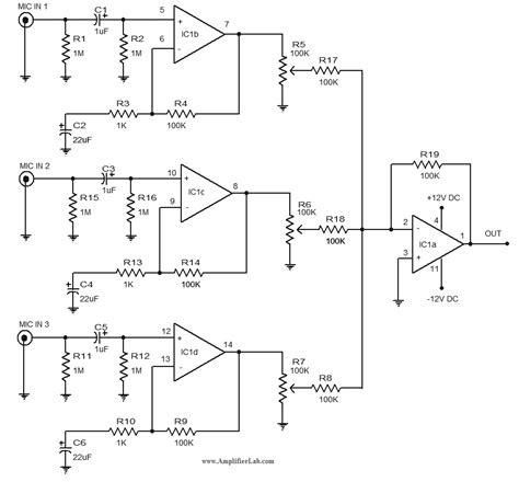 Microphone Pre Amplifier Circuit Diagram Using