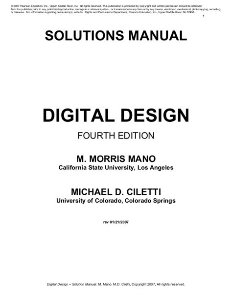 Solution manual of digital logic and computer design 4th
