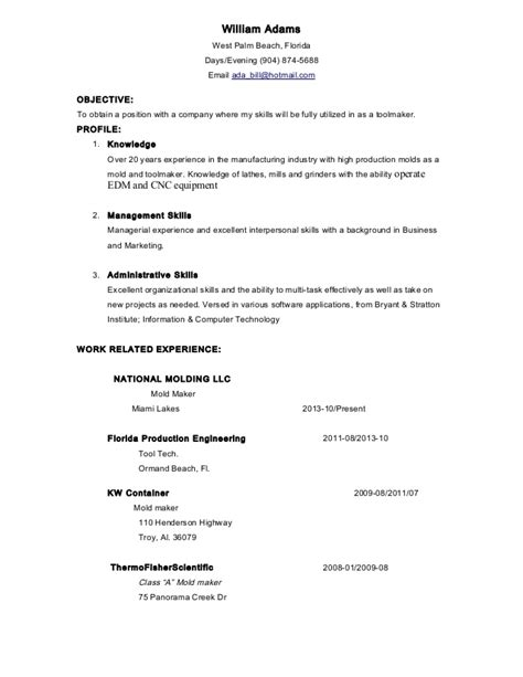 Tool And Die Maker Resume Format by Tool Maker West Palm Resume