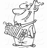 Accordion Coloring Cartoon Happy Outline Playing Toonaday sketch template