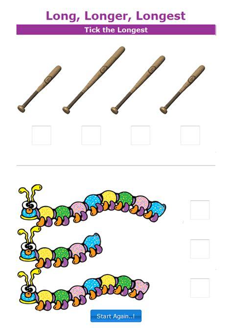 kindergarten measurement worksheets interactive