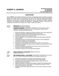 aml compliance officer resume sle robert johnson resume