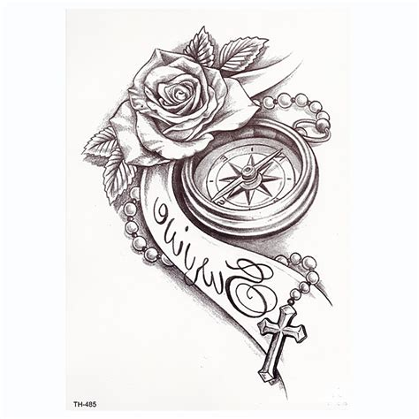 rose clock body art waterproof temporary tatoo sexy thigh arm tattoos rose  woman flash
