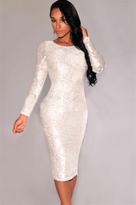 2015 Elegant Women Flowers Embroidery Bodycon Midi Dress