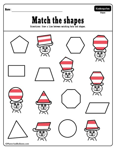 cats with hats dr seuss inspired shapes matching worksheets planes balloons let s