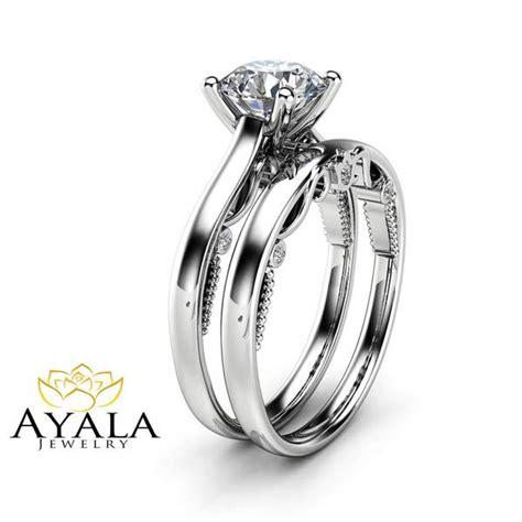 1 carat moissanite bridal 14k white gold engagement rings unique d camellia jewelry