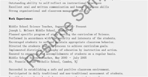 Middle School Science Resume Template by Resume Sles Middle School Science Resume Sle