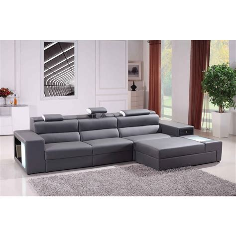 modern grey leather sofa contemporary style living room with grey bonded leather
