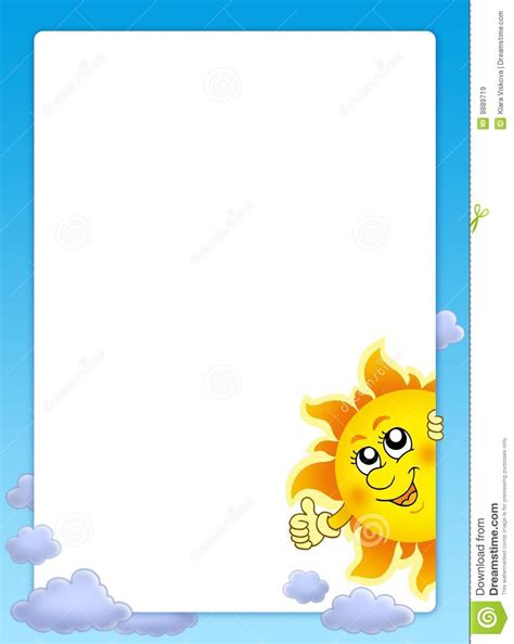 clipart photo frame with lurking sun royalty free stock images