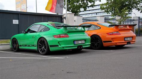 Porsche Gt3 Rs Green by 2x Porsche 997 Gt3 Rs Green Or Orange Porsche