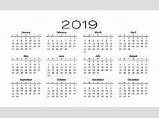 Free Blank Yearly Calendar 2019 Template Free August