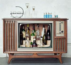 vintage console televisions converted to liquor With home bar furniture retro