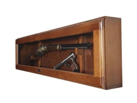 gun display wood cabinet case rifle shotgun horizontal wall mount collectors gun racks