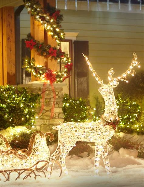 reindeer sleigh lawn decorations for christmas lighted reindeer outdoor decor