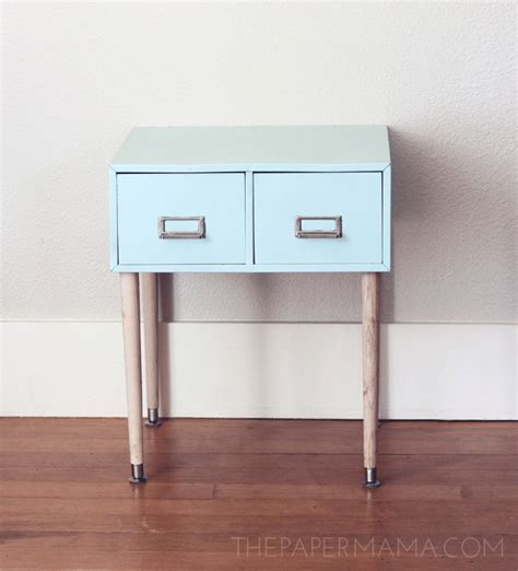 filing cabinet side table made from a repurposed file