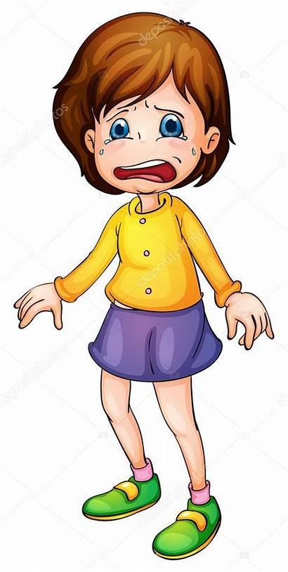 Sad Clipart Cartoon Scared Crying Illustration Child