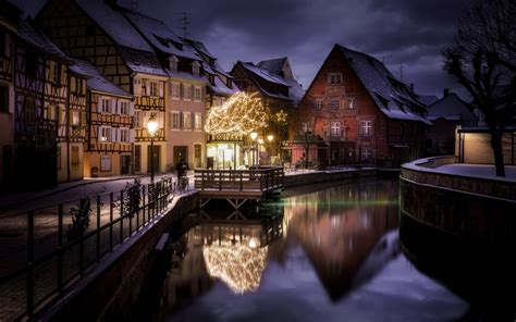wallpaper france canal buildings lights christmas