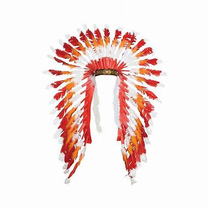 Headdress Native American Orange Indian Partycity