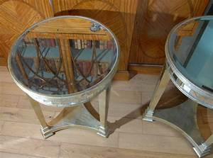 Pair, Round, Top, Art, Deco, Mirrored, Side, Tables