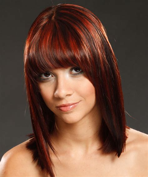 wavy haircuts with bangs medium formal hairstyle with blunt cut bangs 4442