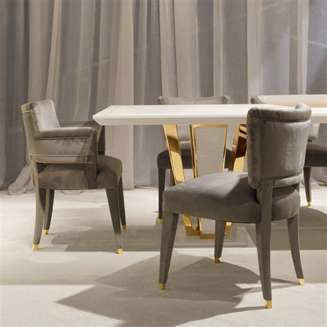 Exclusive Contemporary Goldplated Ivory Dining Table Set