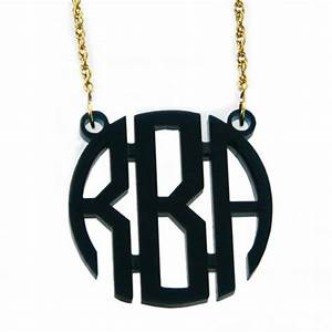 Monogrammed three letter acrylic circle necklace more for Acrylic letter necklace