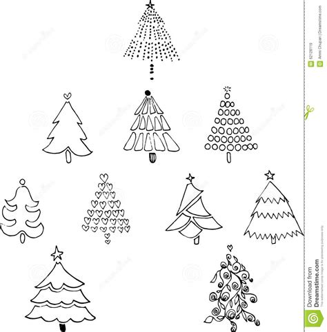 10 christmas trees line art drawing stock vector image 62128119