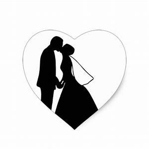 Wedding kiss bride and groom silhouette heart sticker | Zazzle