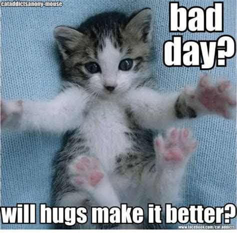 Bad Day Meme - had bad day will hugs make it better wwwfacebookcomcataddicts bad day meme on me me