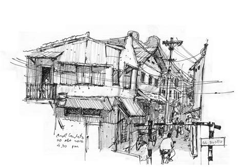 chinese houses sketching ink watercolour