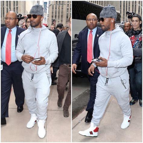 jamie foxx wears gucci contrast padded sneakers upscalehype