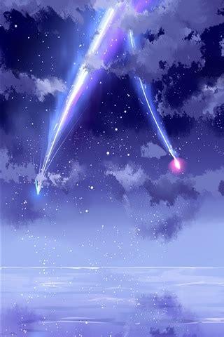 beautiful sky meteor anime  iphone