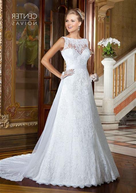 Boat Neck V Back Dress by A Line Boat Neck V Back Sleeveless Lace Wedding Dress With