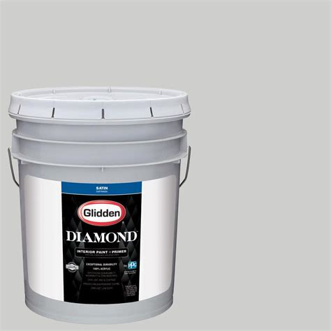home depot 5 gallon interior paint glidden diamond 5 gal hdgcn61 universal grey satin interior paint with primer hdgcn61d 05san