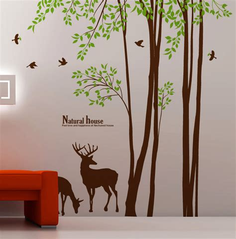98 quot large tree wall decals birds deer removable vinyl