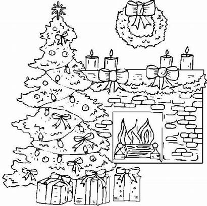 Fireplace Christmas Drawing Coloring Pages Tree Sheets