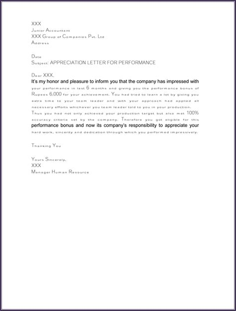 appreciation letter templates appreciation letter samples to write personal or