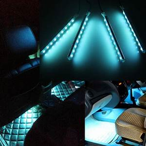 4x 9-LED Ice Blue Car Charge Interior Floor Decorative ...