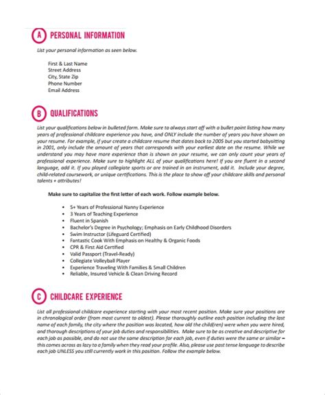 nanny resume templates sample templates