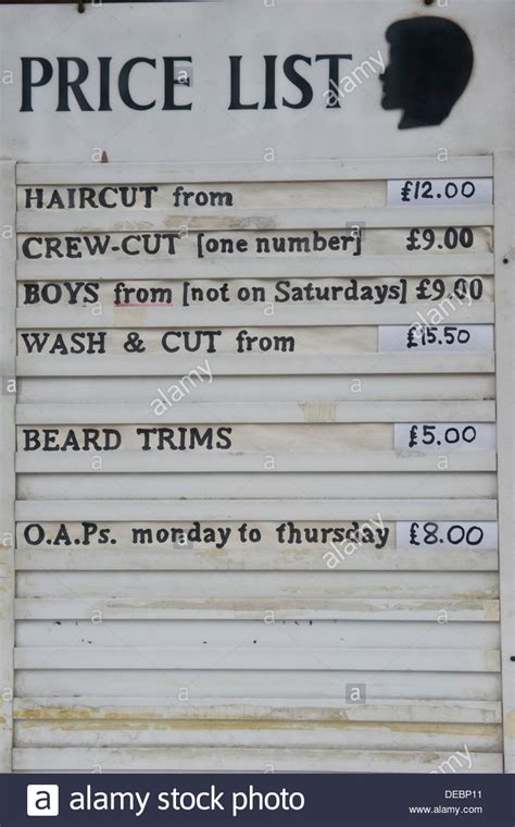 traditional barber shop price list stock photo