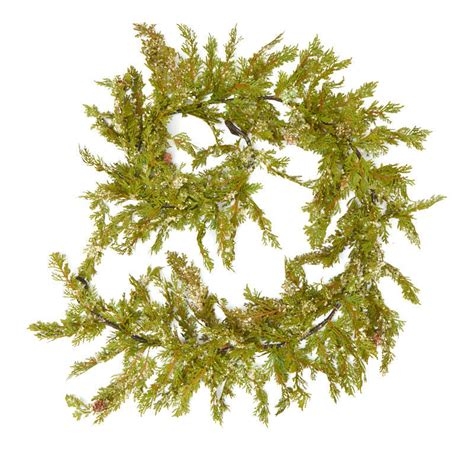 snowy artificial cedar and pinecone garland christmas