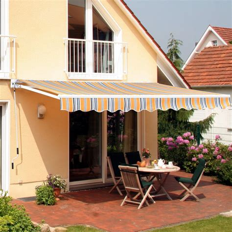 outsunny manual sun shade outdoor  ft    ft  fabric retractable standard patio awning