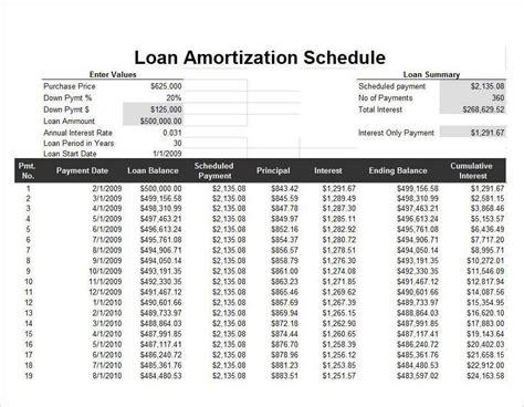 loan amortization table calculator 9 amortization schedule calculator templates free excel pdf