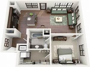 one bedroom open floor plans one bedroom floor plans 3d With 1bed room 3d home plan