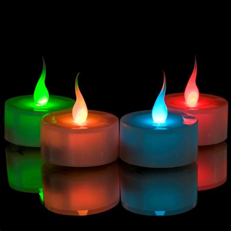 battery operated tea lights bulk 6 x led colour changing flickering mood tea lights